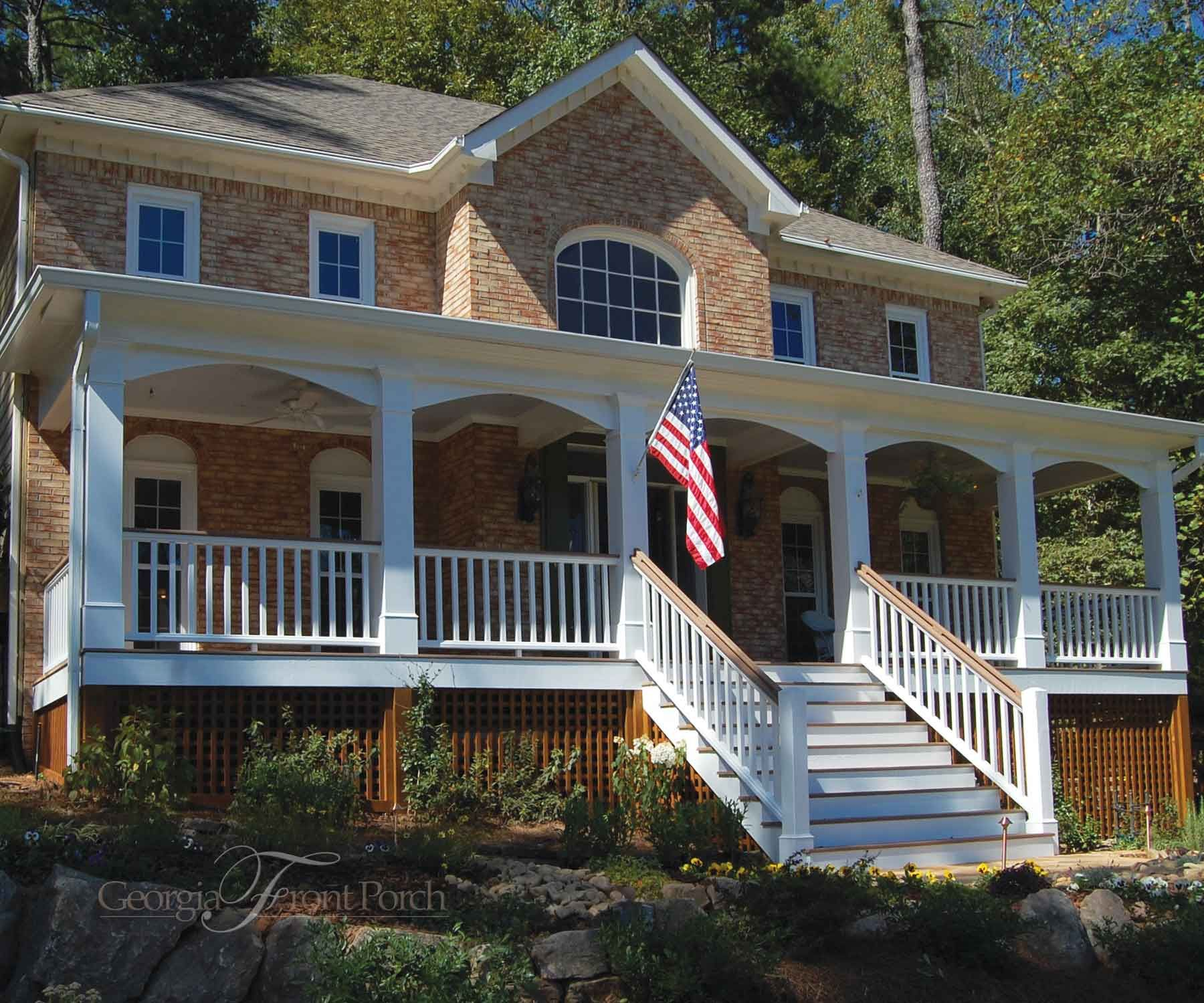 Full Front Porch With Arches And Traditional Railing Traditional