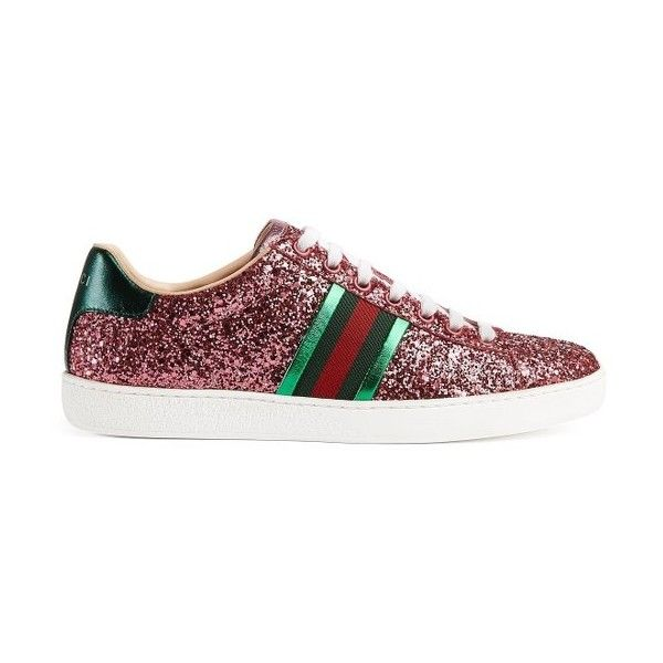 bb993360565 Women s Gucci New Ace Glitter Sneaker ( 650) ❤ liked on Polyvore featuring  shoes