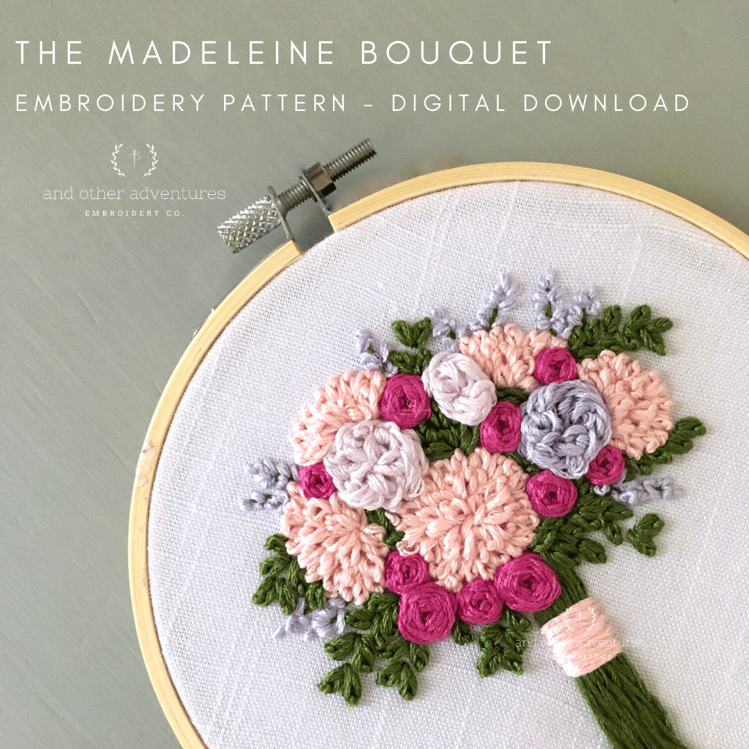 The Madeleine Bouquet   DIY Floral Hand Embroidery Pattern   Hand ...