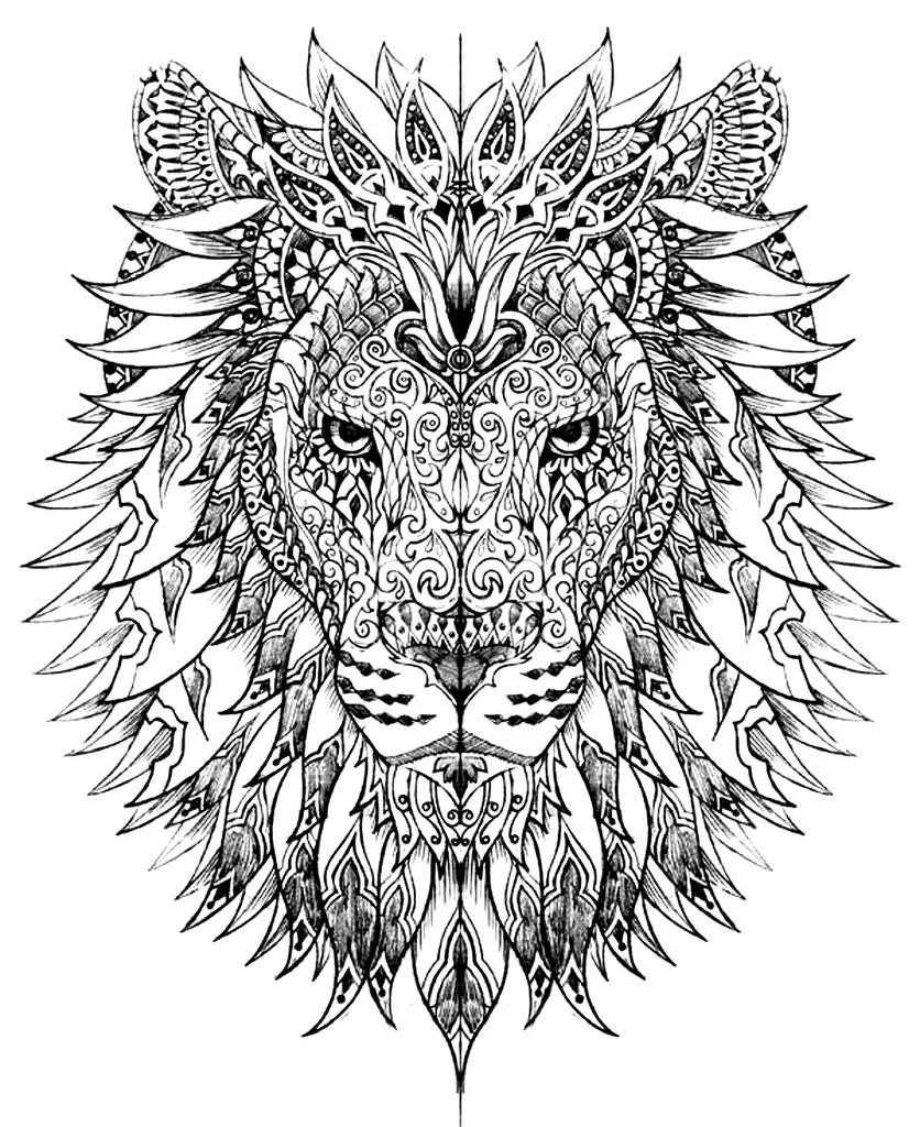 Animals Mandala Ausmalen Mandala Lowe Malbuch Vorlagen