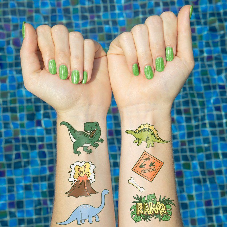 Kids Temporary Tattoos DINOSAUR PARTY Little Dino Tattoo Temporary Favours