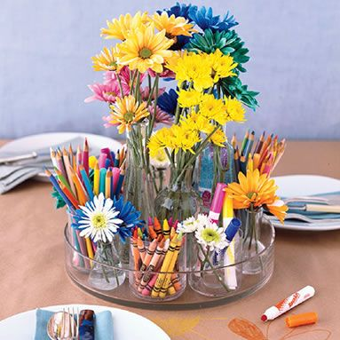 Groovy Colorful Fun Centerpiece For Kids Table Centerpieces Home Interior And Landscaping Synyenasavecom