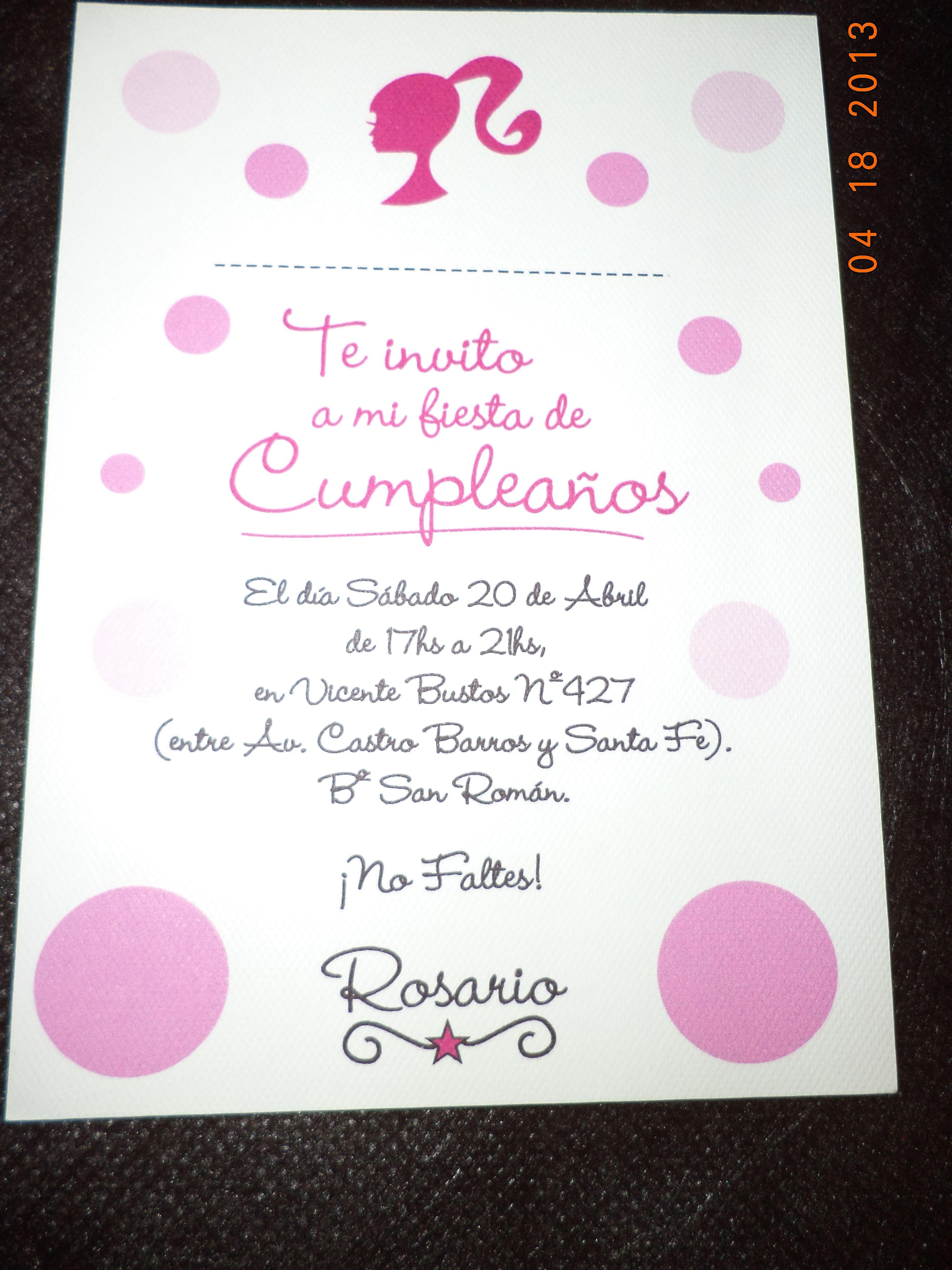 Invitación Candy Bar Barbie Spa Barbie