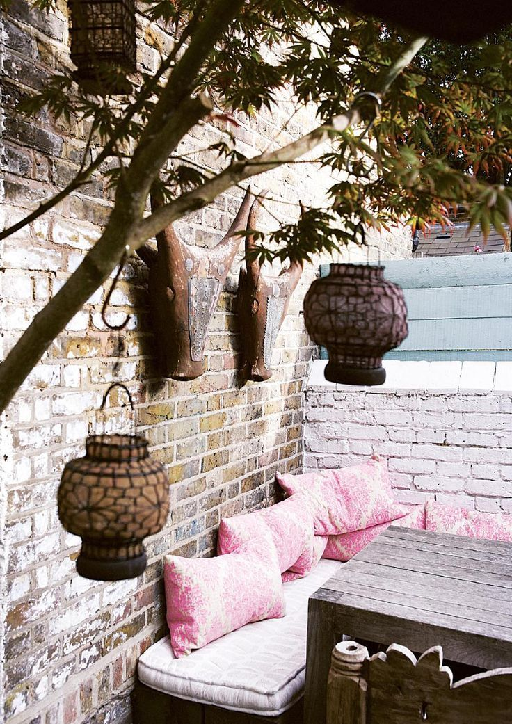 bench dining with lanterns