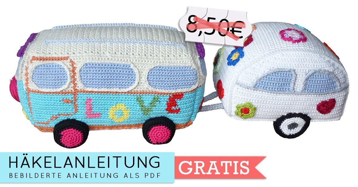 Häkelanleitung (011): Hippie Bus mit Wohnwagen - Häkelanleitungen ...
