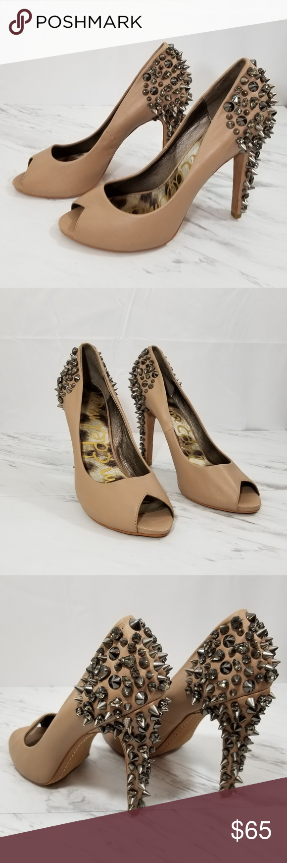 801bd63bb Sam Edelman Lorissa Nude Leather Spiked Heel Pumps Sam Edelman Lorissa Nude  Leather Pumps. There is no sign that these have ever been worn.