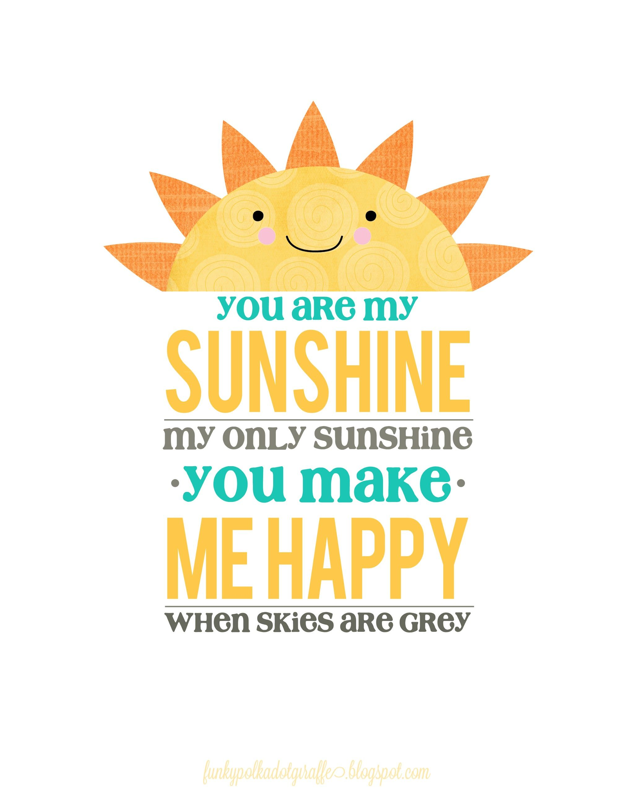 graphic about You Are My Sunshine Free Printable titled Absolutely free On your own Are My Sun Printable Task Everyday living Freebies