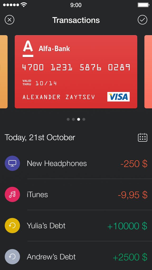 Walle Finance App [New Transaction Screen] / Alexander