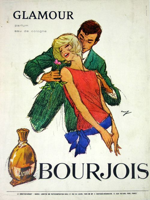 affiche bourjois parfum glamour france 1950 illustration de raymond pub vintage. Black Bedroom Furniture Sets. Home Design Ideas