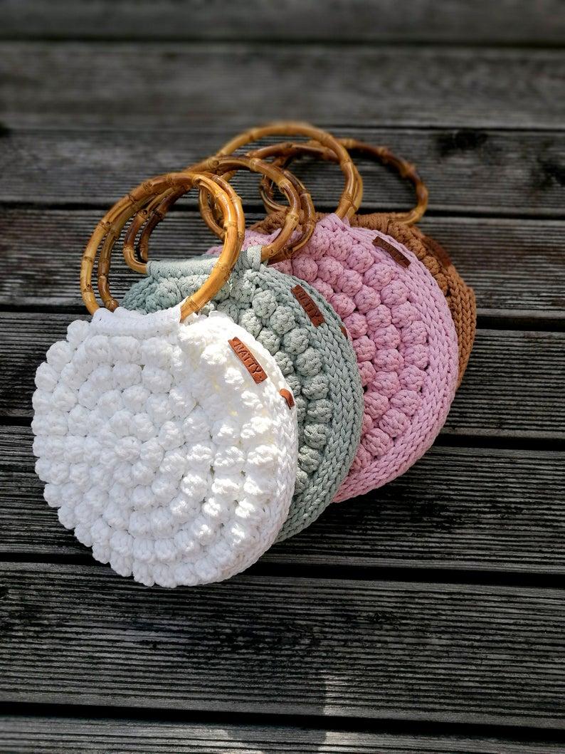 Chrochet round bag Bubble round handbag Crochet bag Boho sack Chrochet summer bag Bubble round crochet bag Macrame bag Bubble chrochet bag