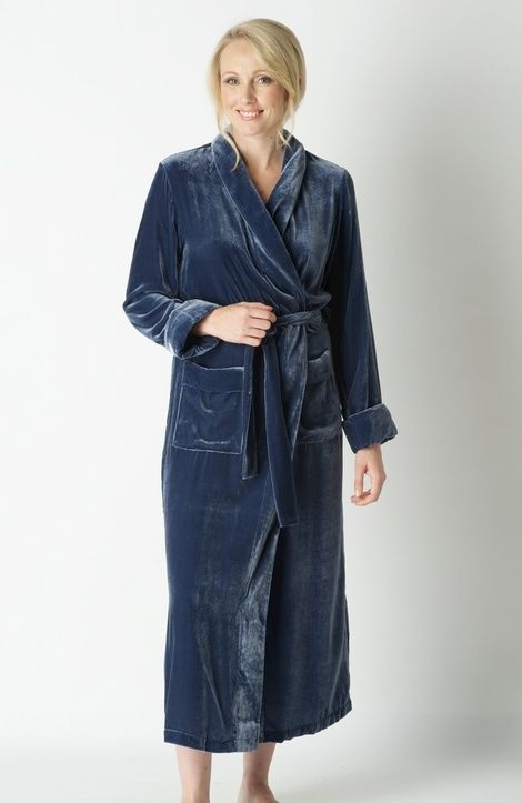 In this beautiful blue silk velour robe you will feel as ...