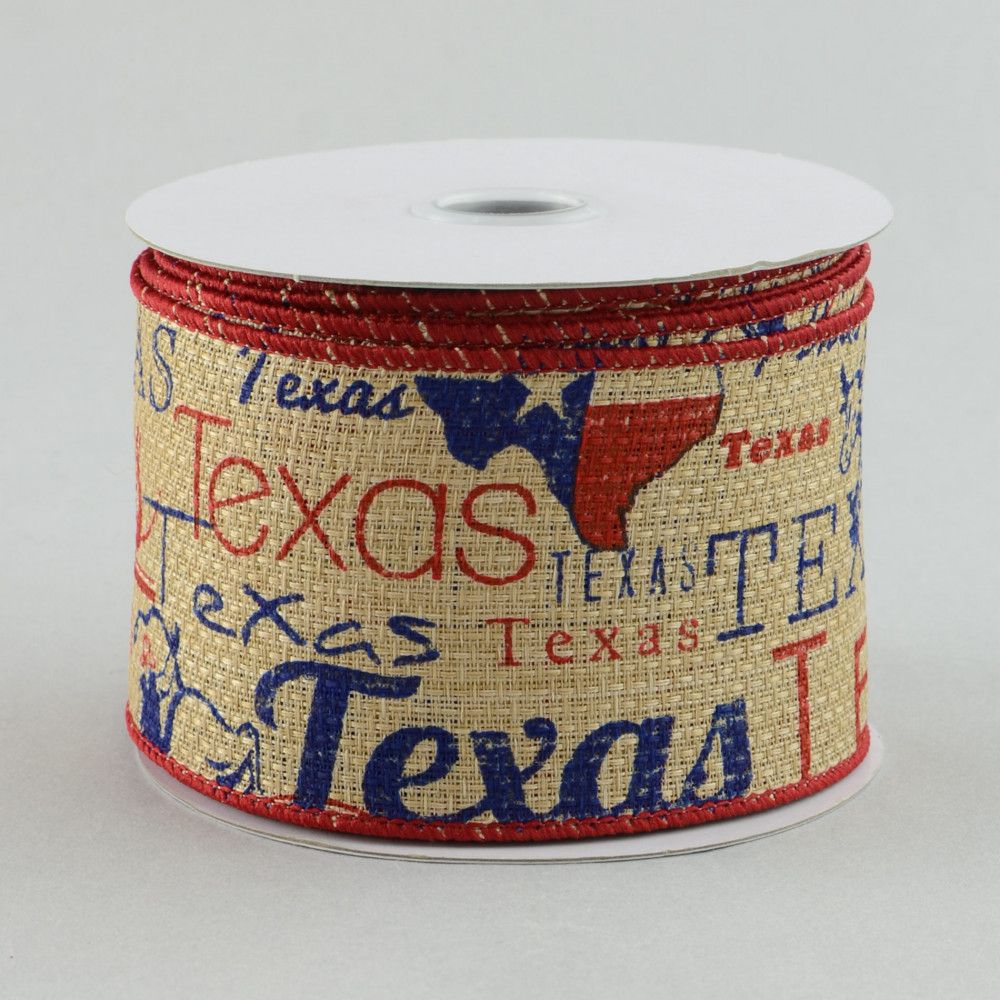 "2.5"" Faux Burlap Texas Ribbon (10 Yards)"