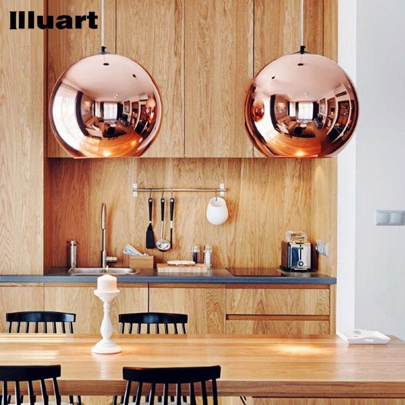 Glass Bubble Ball Pendant light E27 LED Bulb Copper Mirror