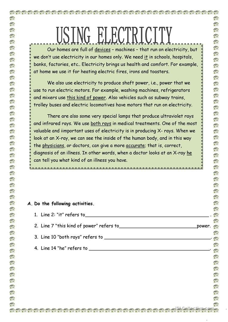 Electrical Power Worksheet Answers Using Electricity English Esl Worksheets For Distance In 2020 Chemistry Worksheets Electricity Comprehension Exercises