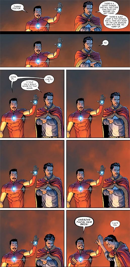 tony stark and dr strange awesome facial hair bros