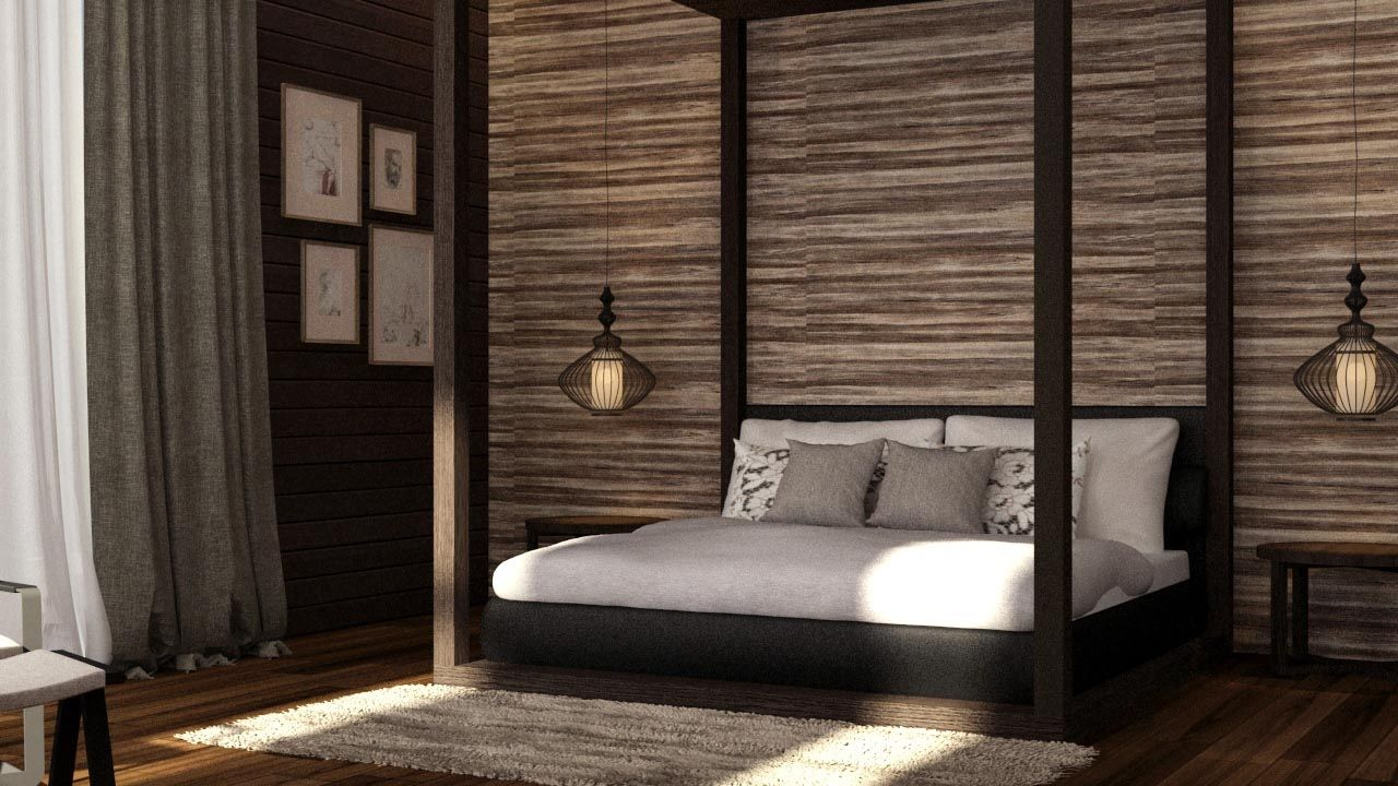 Some Balinese Style bedroom design. p/s: Generated by 3D software ...
