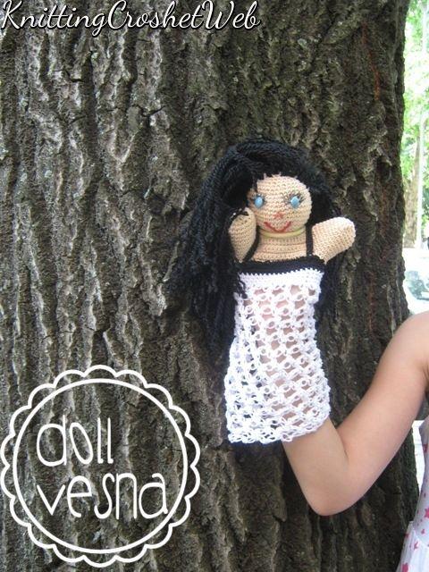Doll Vesna, hand doll,hand puppet, crochet doll, handmade Amigurumi ...