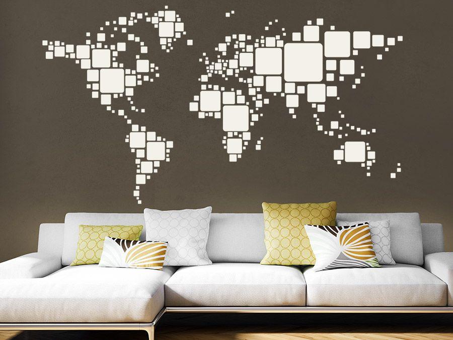 Inspirational Retro Weltkarte Welt mit Quadraten