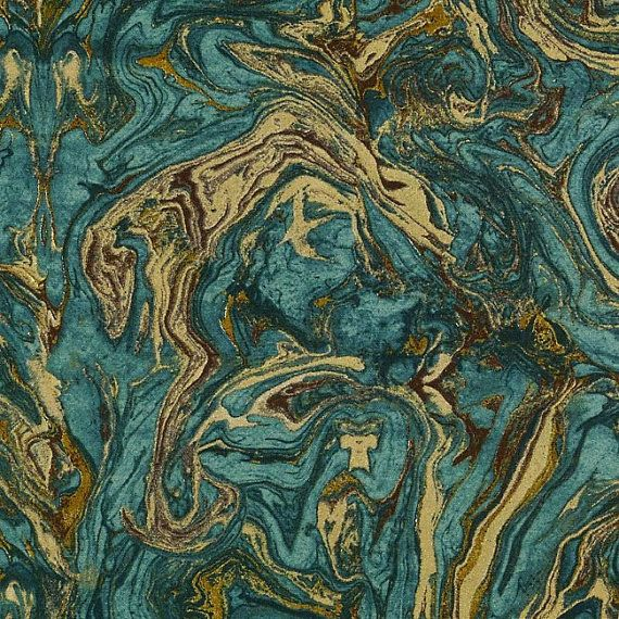Teal and Gold Upholstery Fabric - Abstract Design - Metallic ...