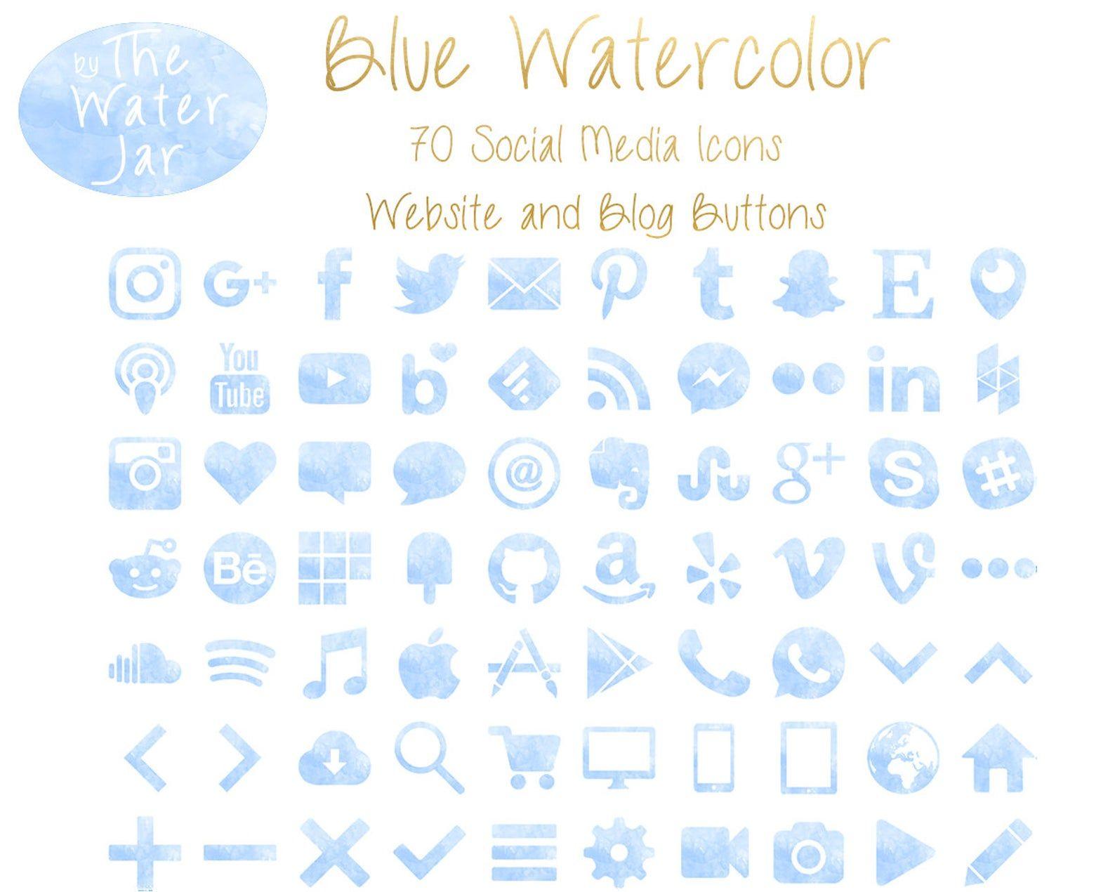 Blue Watercolor Social Media Icons Social Icons, P
