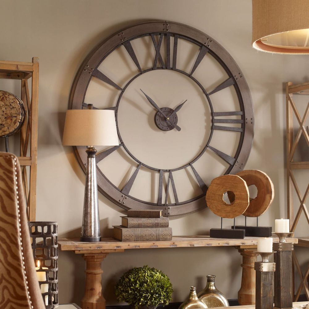 Huge 60 dark rustic bronze round wall clock big roman numbers