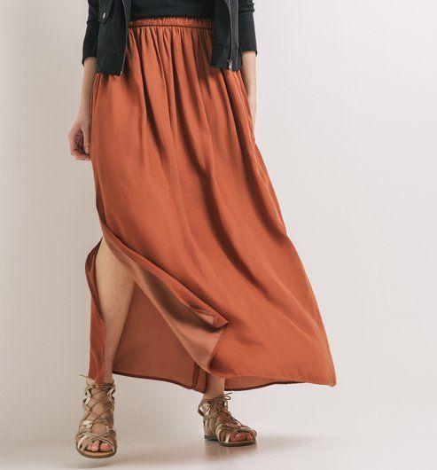 9ebeaab3eac65b Longue jupe soyeuse Femme caramel - Promod | Mode | Jupe, Jupes ...