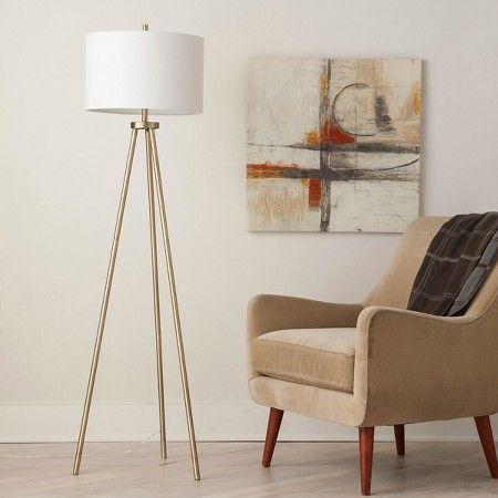 Ellis Tripod Floor Lamp Brass White Project 62 Tripod