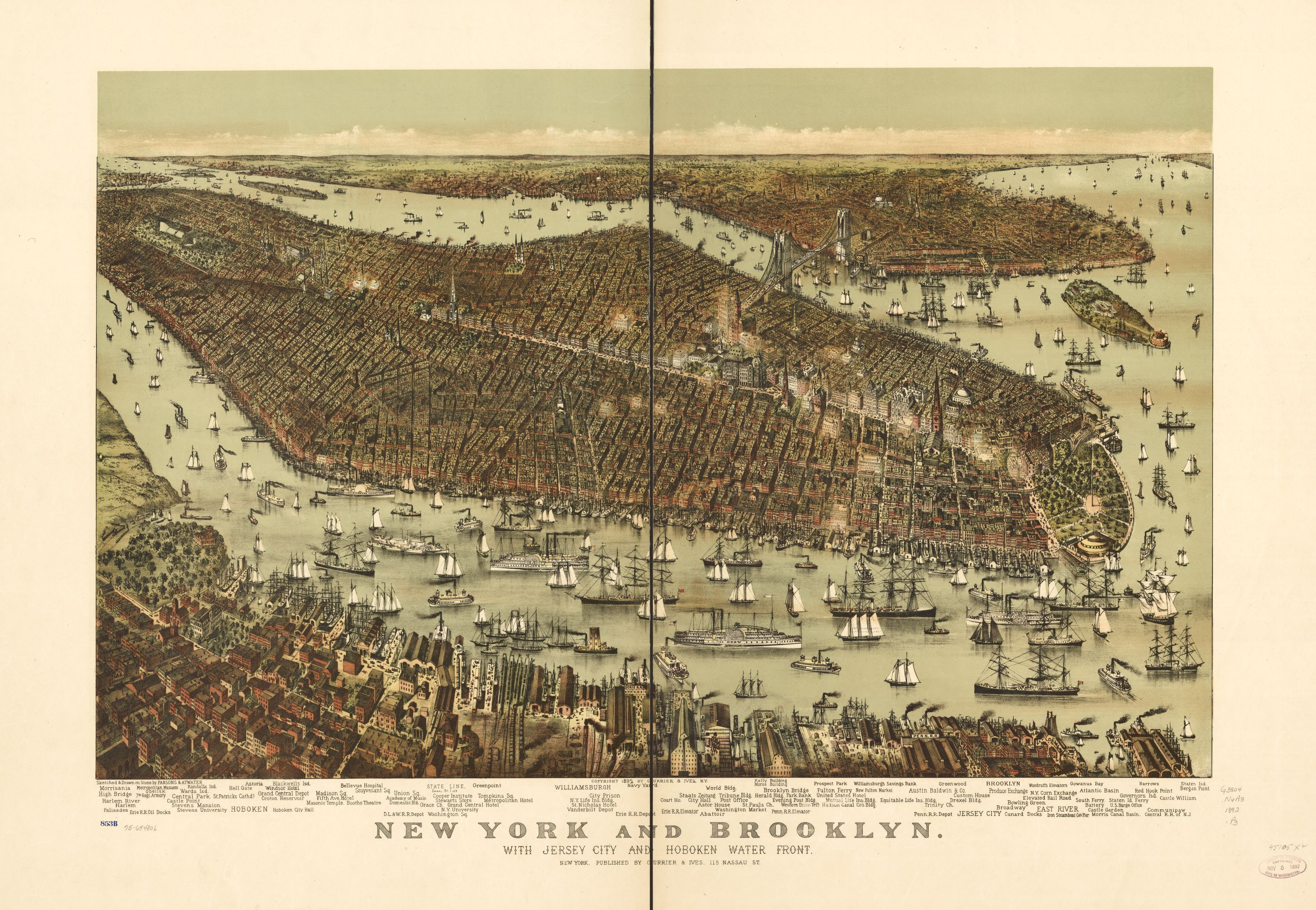 Map Of I 84 New York.New York And Brooklyn With Jersey City And Hoboken Water Front
