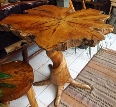 Reclaimed Teak Tree Trunk Bistro Table With Root Base Nesting Pinterest Tree Trunks And Teak