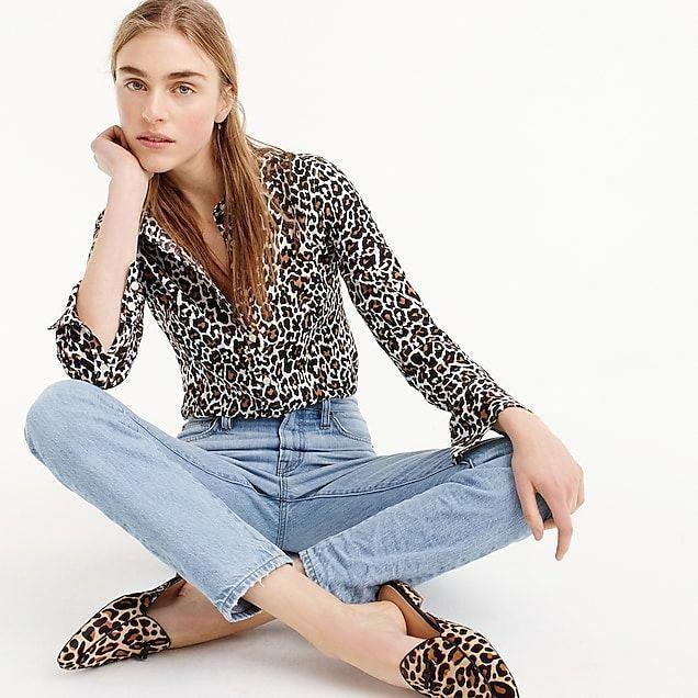 286afb9b619 women s petite slim perfect shirt in leopard print - women s shirts   womensfashionover40edgy