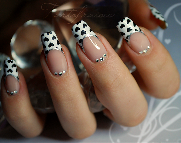 Nail Art Designs/ black hearts on white tips on a natural