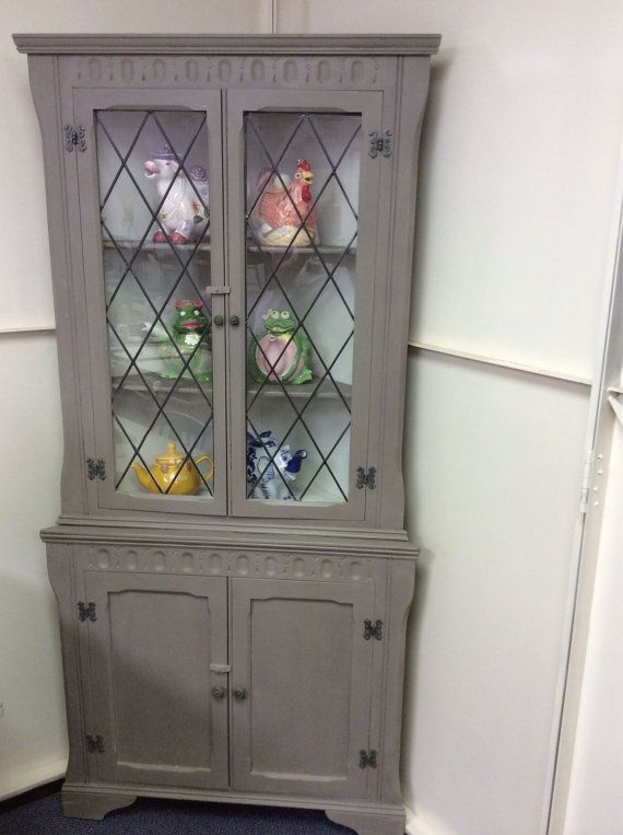 Mahogany Corner Display Unit With Leaded By