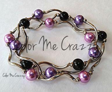 Beaded Stacking Stretch Bangle Bracelet Purple - Pink - Black