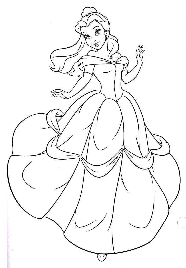 Disney Princess Belle Coloring Pages  Disney princess coloring