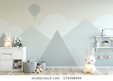 mock up wall in child room interior. Interior scandinavian
