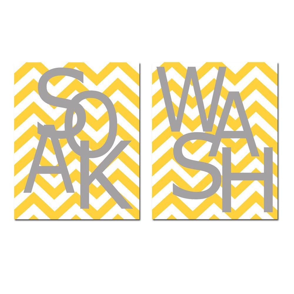 Kids Bathroom Wall Art Print Set - Pick TWO 5x7 Chevron Prints ...