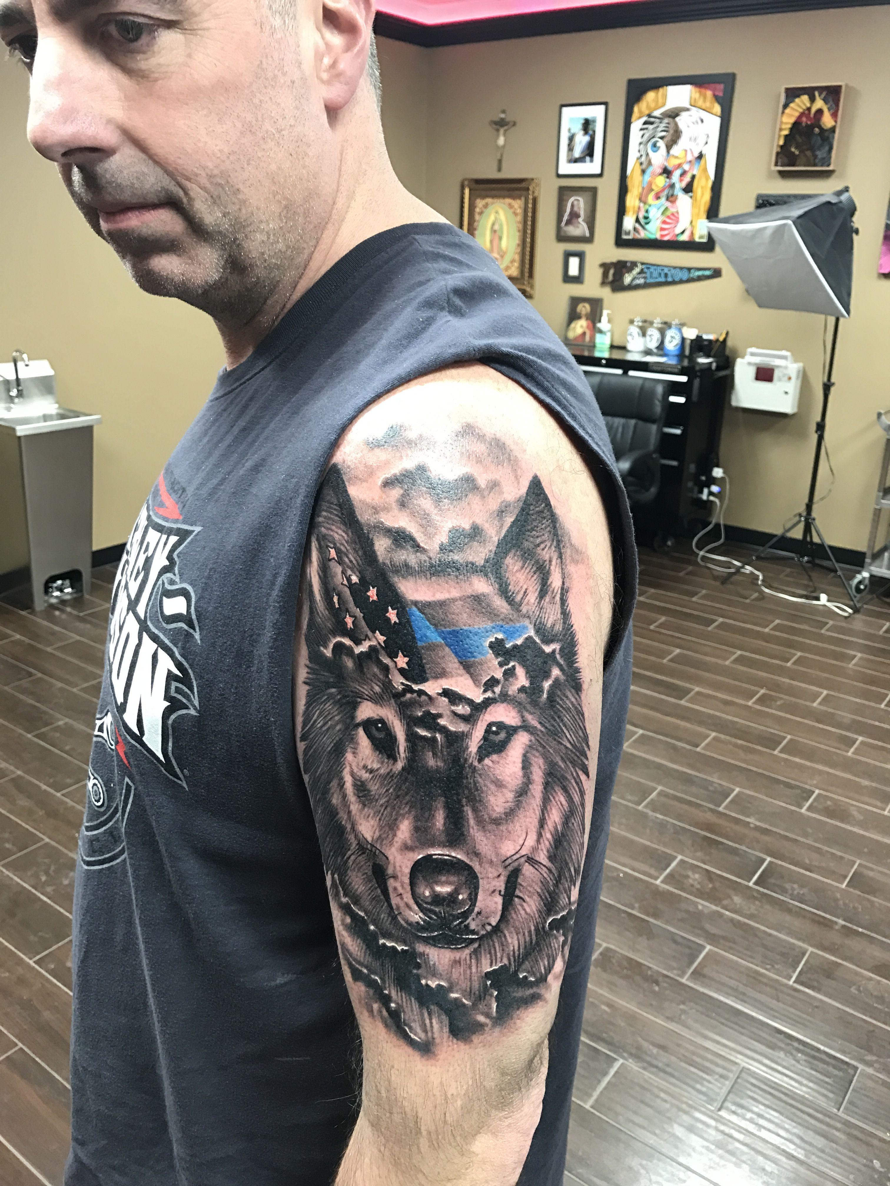 Thin blue line wolf tattoo | tats | Pinterest | Wolf ...