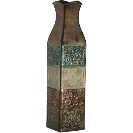 "Elements 17"" Embossed Metal Suzani Tile Vase"