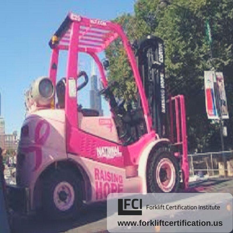 Pink forklift for the ladies! forklift forklifttraining