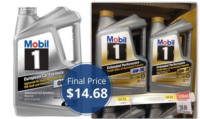 Mobil 1 5 Quart Motor Oil Only 14 68 At Walmart Motor Oil Walmart Oils