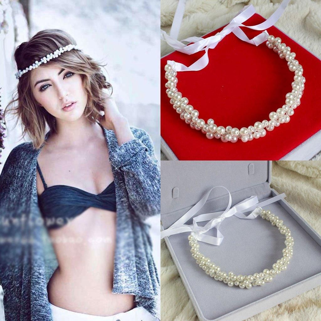 Handmade Pearls Rhinestone Balls Bridal Tiara Headband Wedding Hair Accessories Ribbon Lace Up Bridal Headpiece from Alinabridal,$10.48 | DHgate.com