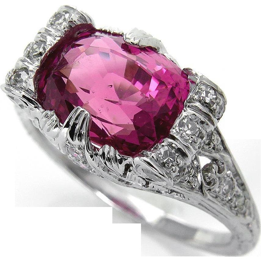 Art Deco GIA UNHEATED 4.11ct Natural Hot Vivid Pink Ceylon Cushion Sapphire and…