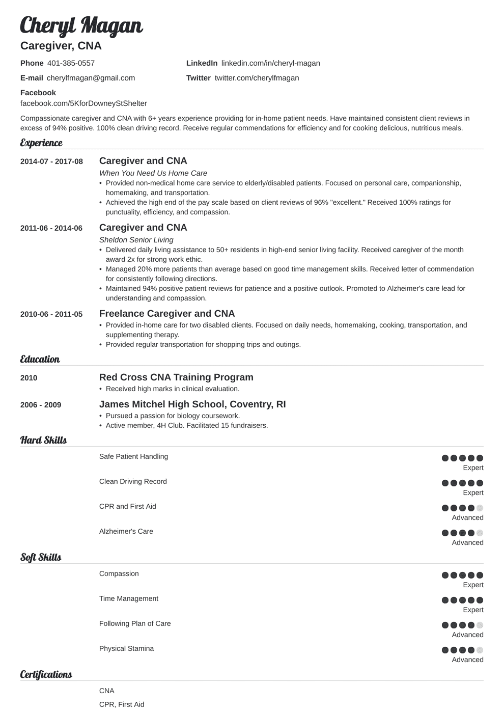 caregiver resume template valera  engineering resume