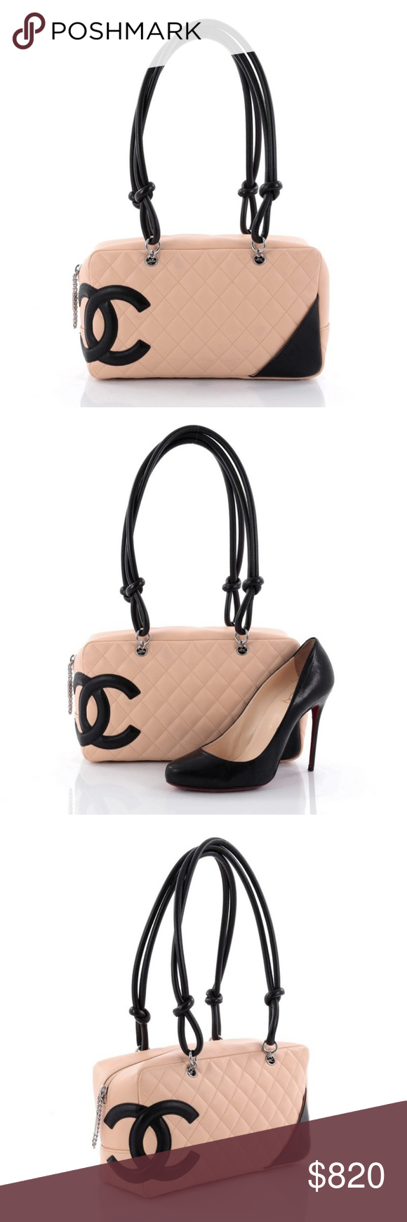 a506f88085 Chanel Cambon Bowler Bag Quilted Leather Medium Condition: Very good.  Discoloration marks on front
