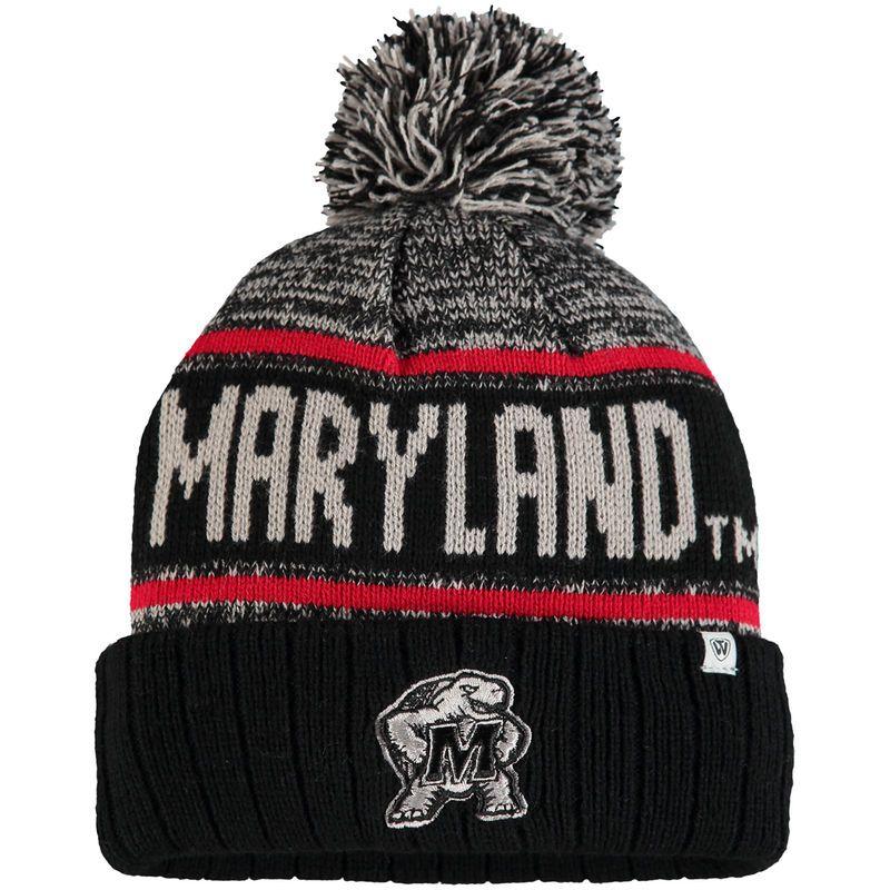d1b4838dc9b Maryland Terrapins Top of the World Acid Rain Cuffed Pom Knit Hat - Black
