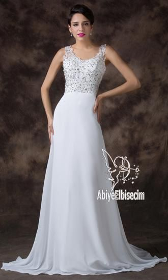 Uzun Abiye Elbise Beyaz Gelinlik Gelinlik Elbise Elbiseler