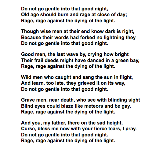 dylan thomas do not go gentle meaning
