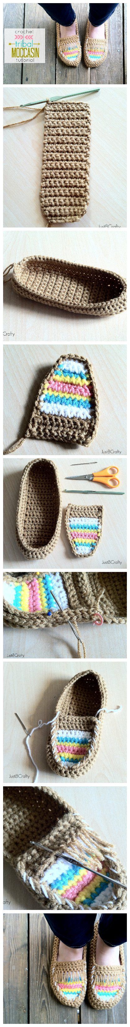 DIY Crochet Tribal Moccasin – Free Pattern | College | Pinterest ...