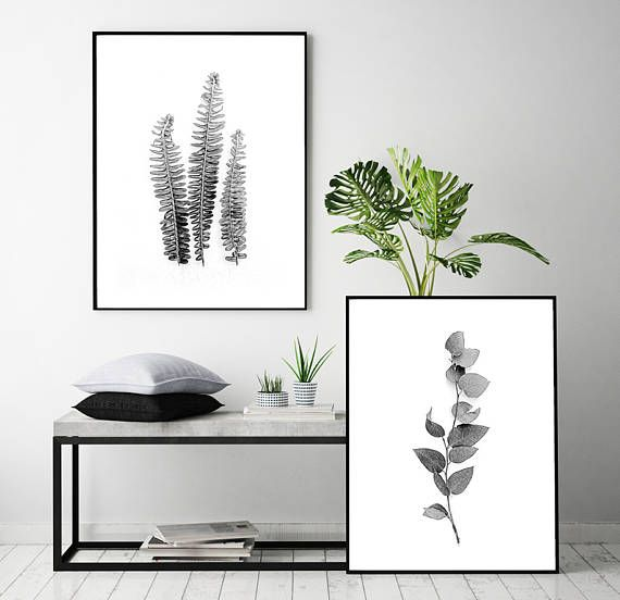 Set of 2 prints set of 2 botanical prints set of 2 black white