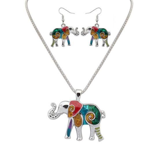 Womens Painted Enamel Rainbow Crab Alloy Necklace Dangle Earrings Jewelry Sets N